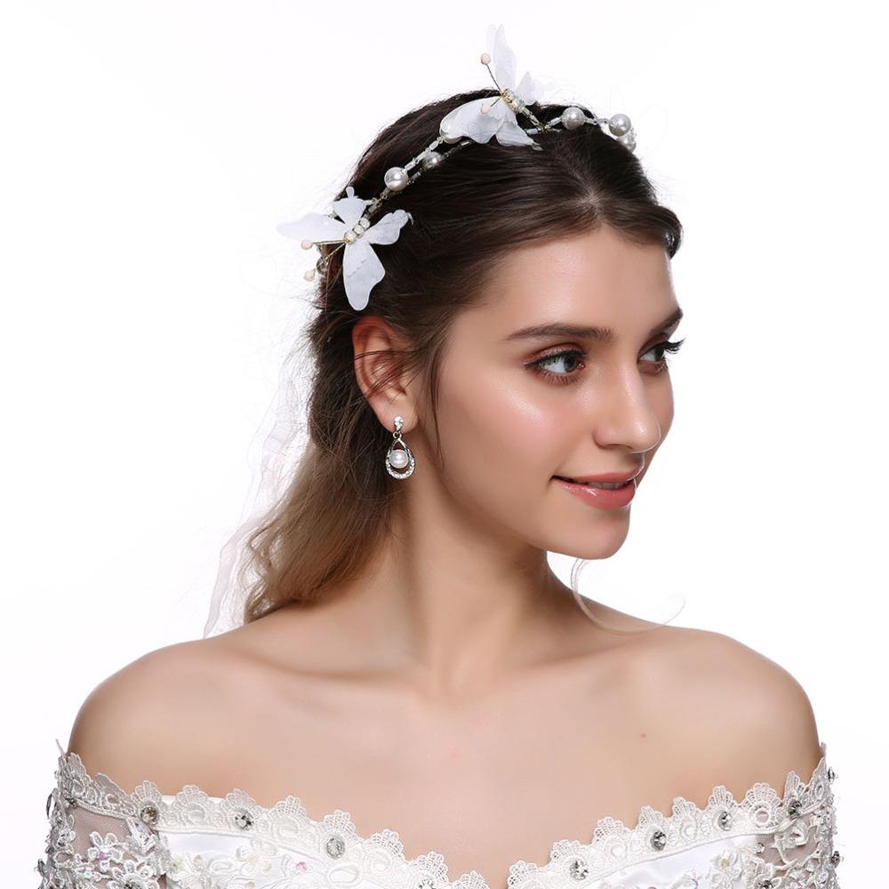 Bridal Hair Vine Ribbon Headband Butterfly Crystals Pearl Wedding Headbands For Bridesmaid And Flowergirls Hair Accessories Designer Hair Accessories Red Hair Accessories From Ruhui 25 71 Dhgate Com