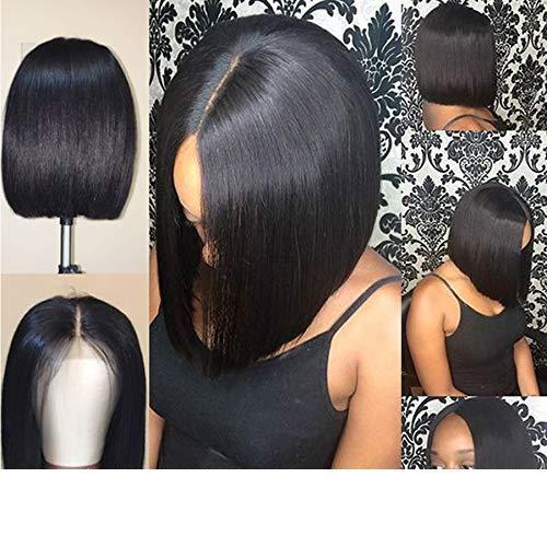 Короткие Боб шелковистые прямые перуанские человеческие волосы полные парики шнурка с детскими волосами предварительно выщипанные натуральная линия волос парик фронта шнурка отбеленные узлы 13X6