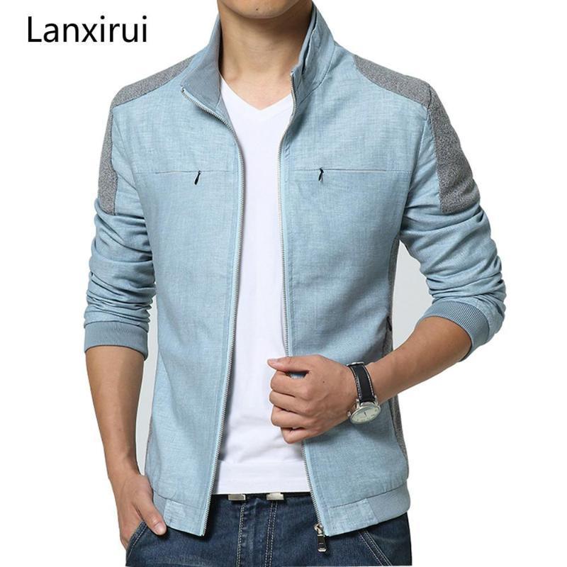 Marca Primavera Autunno Uomini moda giacche casual 'misura S cappotti sottili più 3XL Lino' Men S morbide vesti Outwears