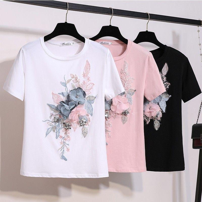 2019 Yaz Nakış Boncuk Çiçek T Shirt Kadın O-Boyun Kısa Kollu Kız T-Shirt Kadın Çiçek Tee Gömlek Y19072001 Tops