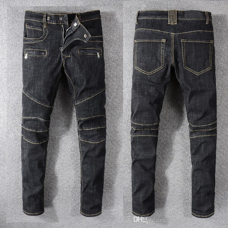 Chic mens fashion straight leg motercycle jeans pants cotton trousers size 28-42