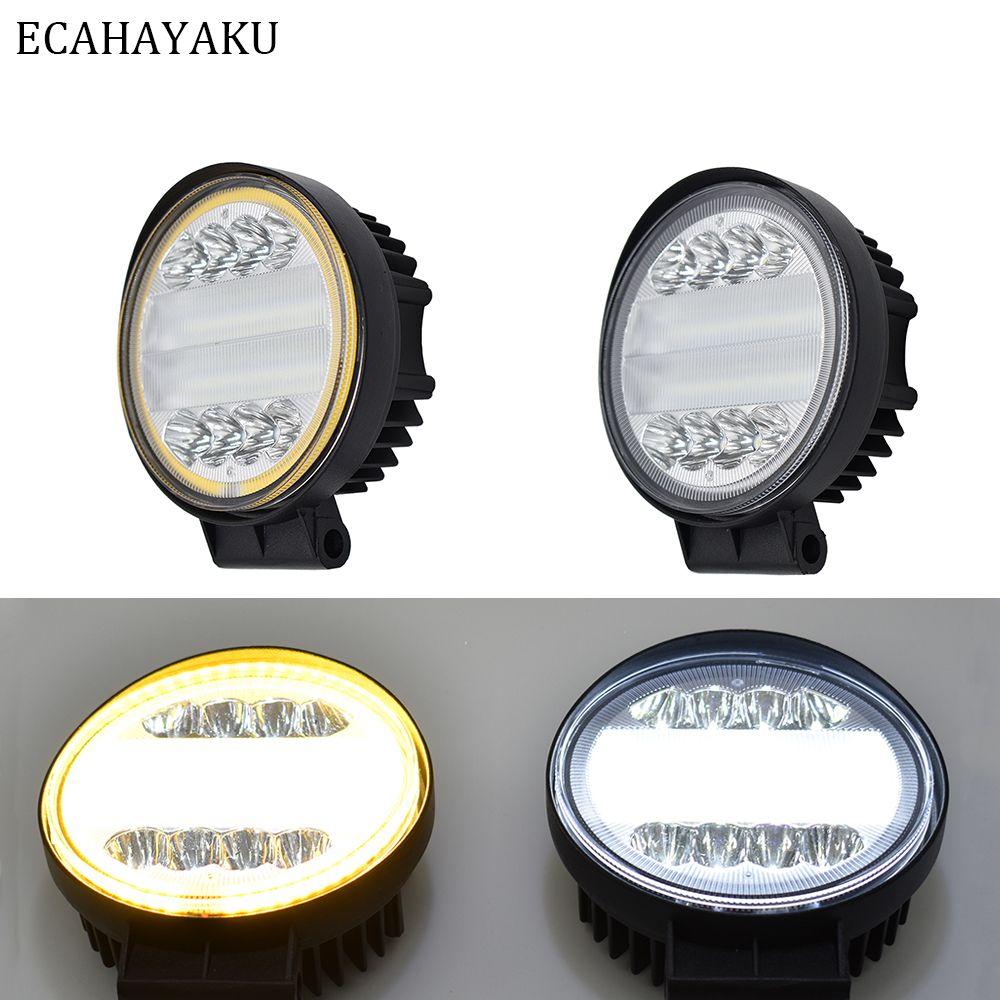 ECAHAYAKU 1 x 4 rangées 4 pouces 72W SUV Camion Spot Inondation Combo Round LED Lumière de travail Conduite tout-terrain FogLampe Barre de lumière / Jeep lumière de travail