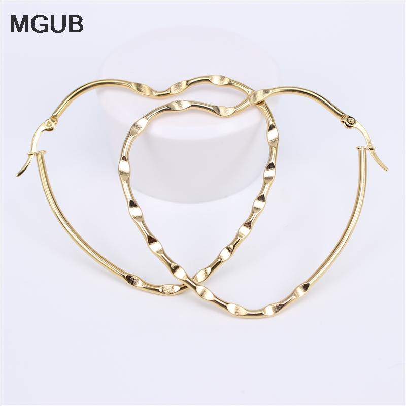 Paslanmaz Çelik Moda Büyük Kadın Kız Hipoalerjenik Takı Çap 60-65MM LH850 için Hoop Küpeler Kalp şeklinde