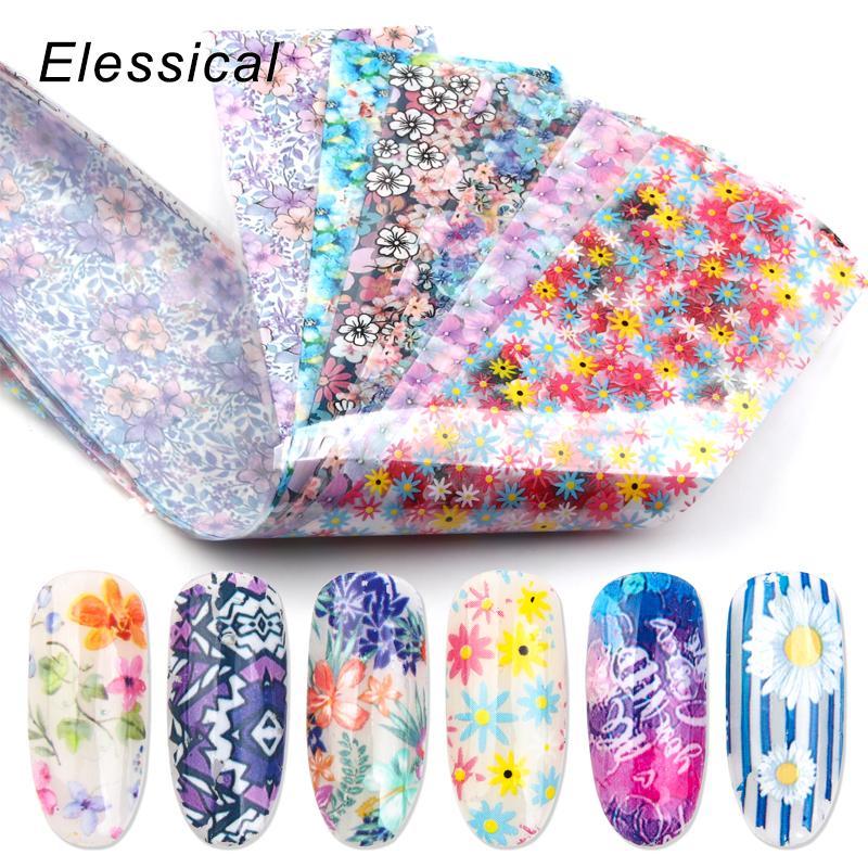 12pcs 4 * 20cm Mix Nail Transfer Foil Sticker Sliders Nail Art Decal Design Foils Manicure Nails Decoración Set 3d Flower Strips