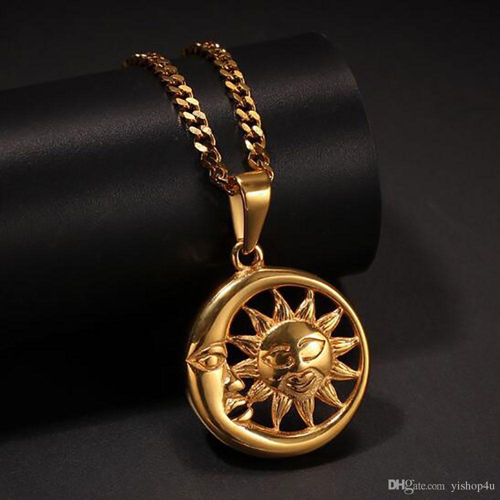 Collana in oro 18 carati Collana in acciaio ciondolo Staines 316L Collana a pendente in acciaio 24 ore di The Sun Pendant