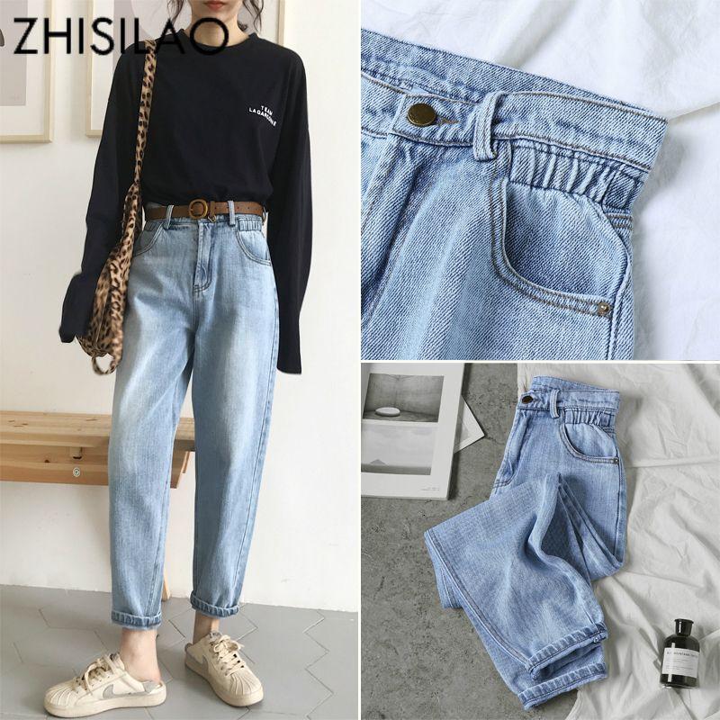 Старинные шикарные парни гарем джинсы женщины плюс размер эластичный Высокая Талия прохладный джинсовые брюки Брюки шикарные мама свободные джинсовые брюки ретро CJ191203