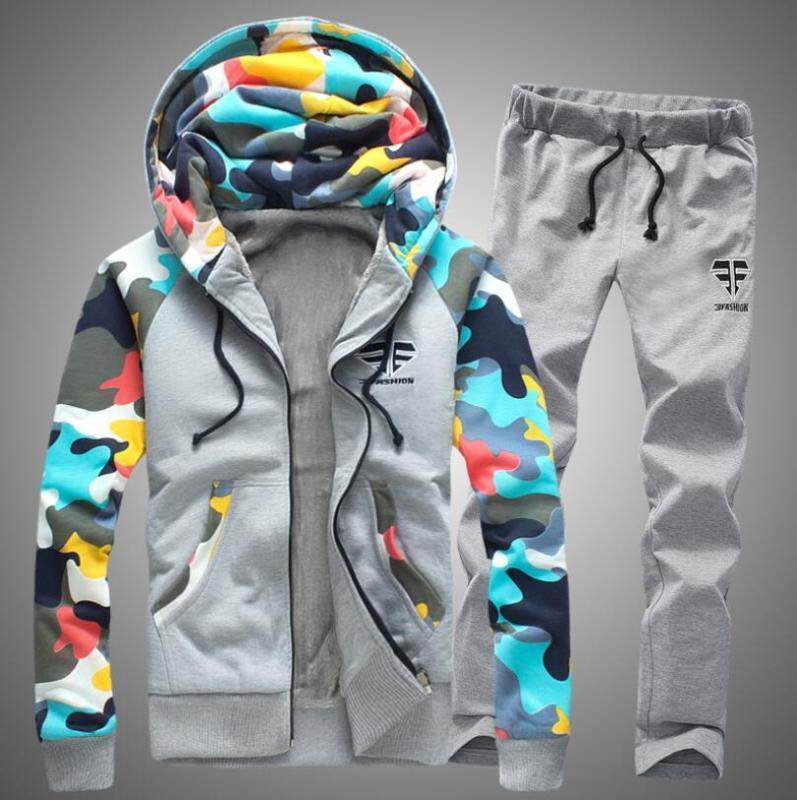 Hommes Tracksuit Set hiver épaissir la veste de hotte + pantalons Sweatshirts 2 pièces Set Sweats à capuche Sporting Costume Couple Couple Sportswear 4XL # C97