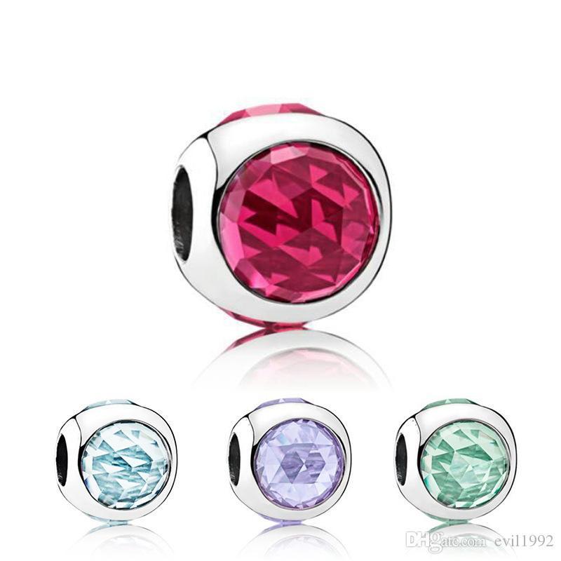 20pcs 라운드 크리스탈 구슬 매력 Pandora 여러 가지 빛깔의 DIY 쥬얼리 유럽 팔찌 팔찌 여성 소녀 최고의 선물 B021
