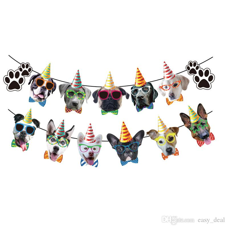 Dog Party Decorations Dog with Sunglasses Garland Bunting Dog Paws Print Banner Pet Puppy Party Supplies yq01201