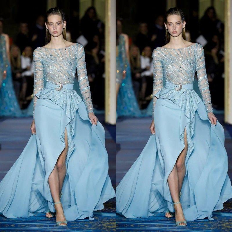 Neueste schöne Eis-Blau-Abschlussball-Kleid-Abend-Arabisch tragen Mermaid Sheer Jewel Sequines Perlen Tulle-formale Partei-Kleider 2020