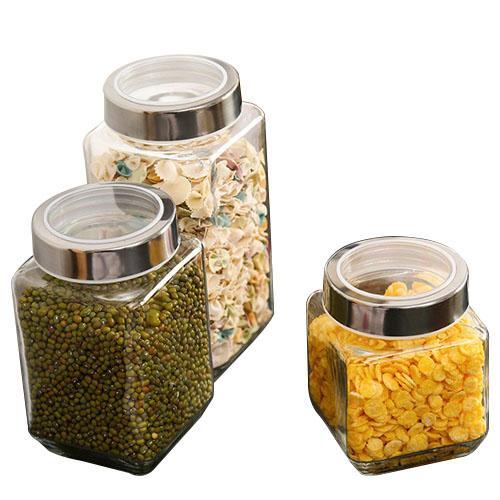 أطعمة المطبخ الجرار اللوازم الزجاج مخازن مختومة خزان الفولاذ المقاوم للصدأ مع غطاء الشاي علب التوابل جرة زجاجة تخزين الطعام