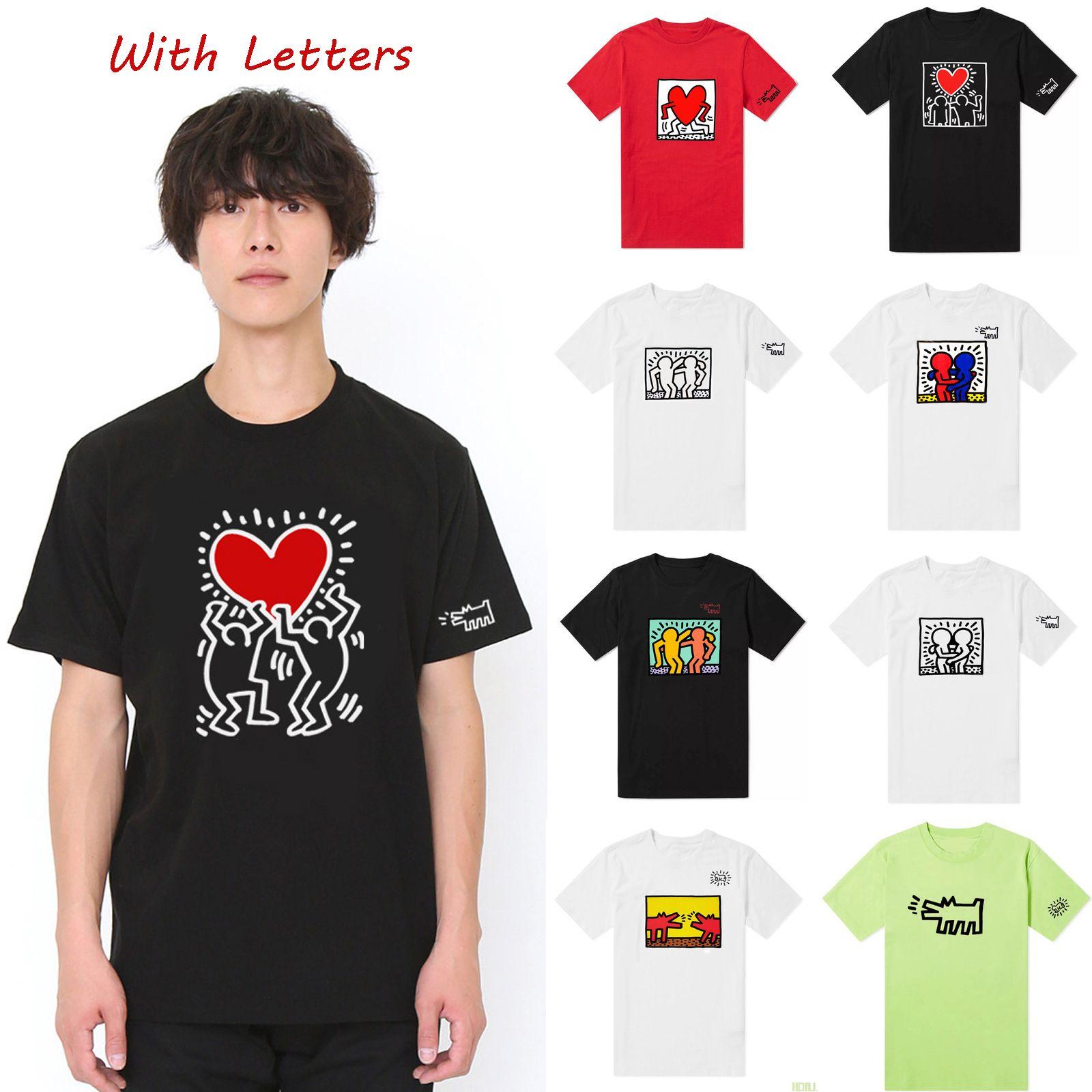 20SS Mens Fashion Stylist T shirt do coração do verão T-shirt do teste padrão meninos de rua Graffiti Tops Casual Crocodile Impressão Tees Hiphop Hot Sale