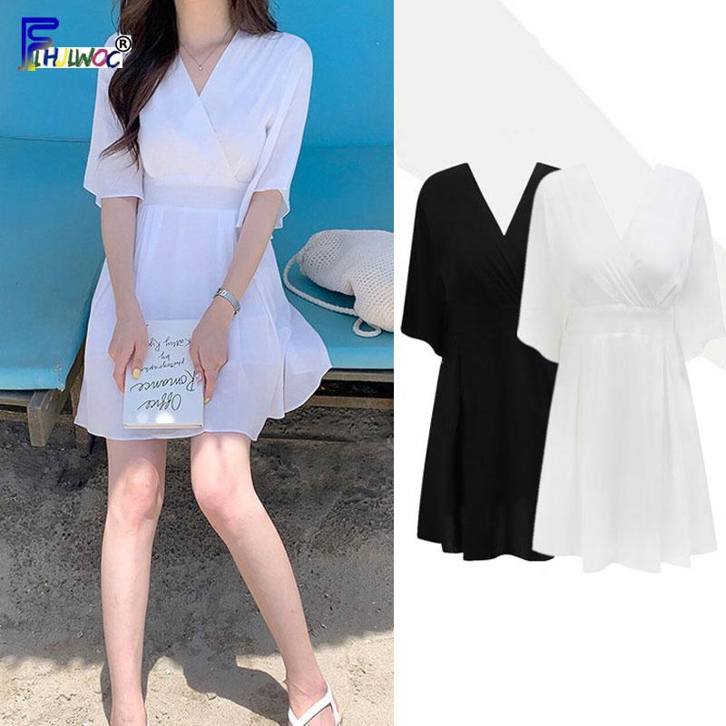A Line Dresses Woman Fashion Summer Flare Sleeve V Neck White Black Korea Japan Style Holiday Date Chic Dress 7516