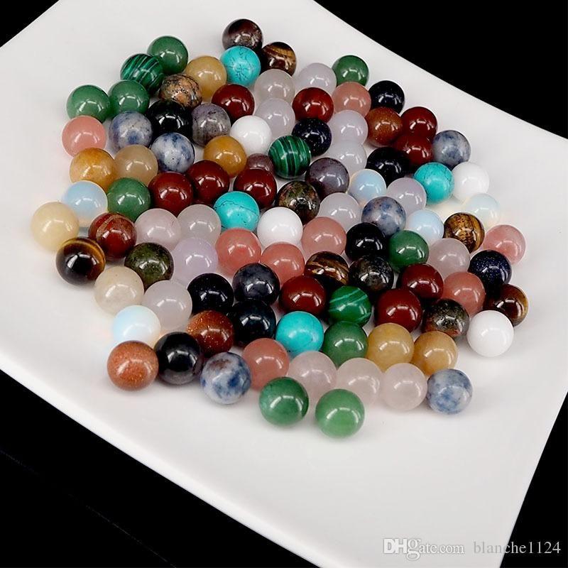 Natürlicher Edelstein Kristall Semi-Edelsteine ohne Löcher Runde Perlen Achat Opal Türkis Malachit Rosa Quarz Großhandel
