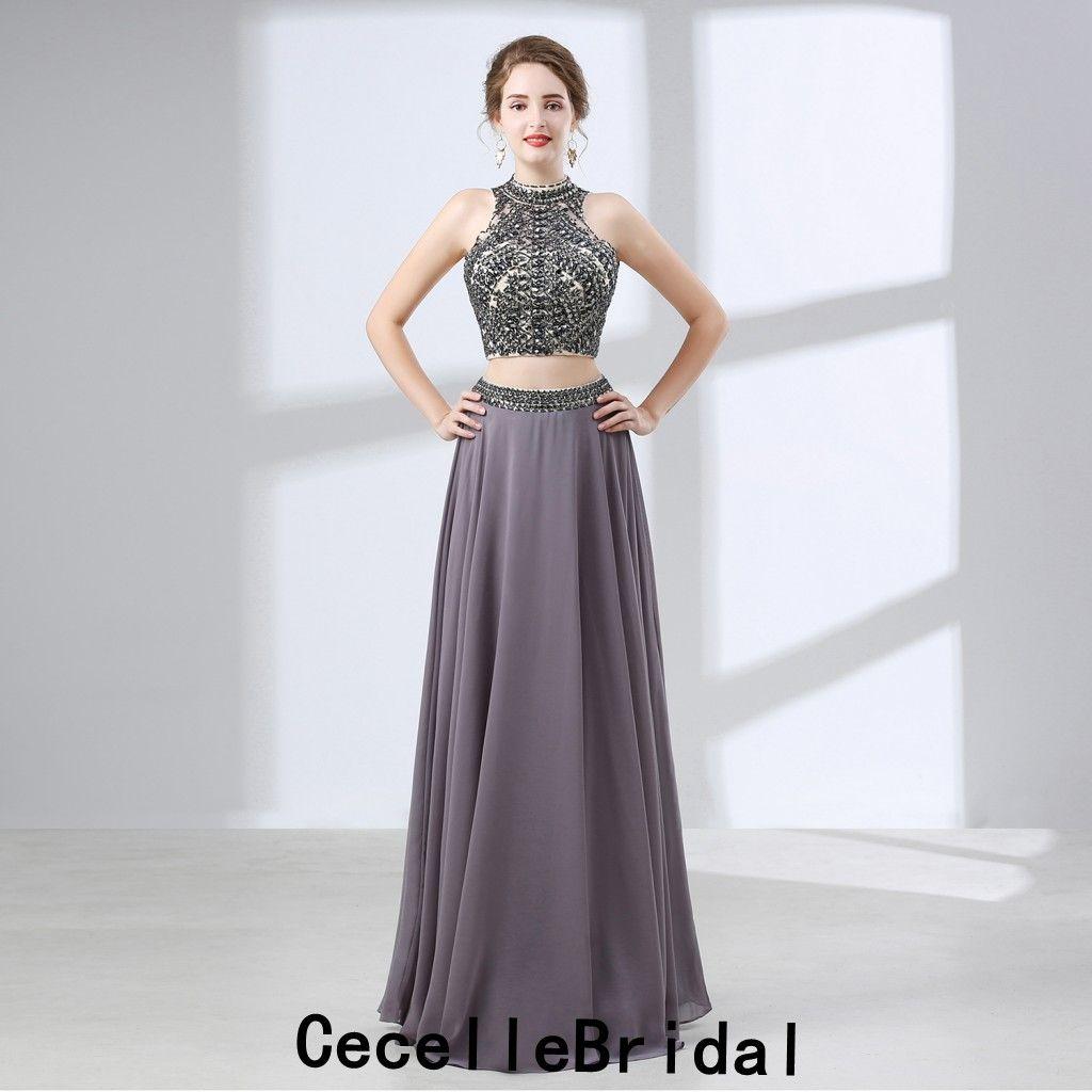 Compre Vestido De Fiesta Largo De Gasa Gris De Una Línea De 2 Piezas 2019 Adolescentes Con Mucho Rebordear Niñas Vestidos De Fiesta De Fiesta Formales