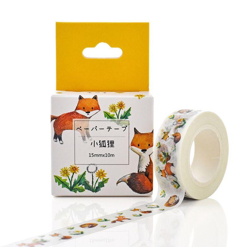 Cheap Office Adhesive Pretty Japanese Flower Fox Decorative Tape Scrapbook Paper Masking Sticker Photo Album Washi Tape