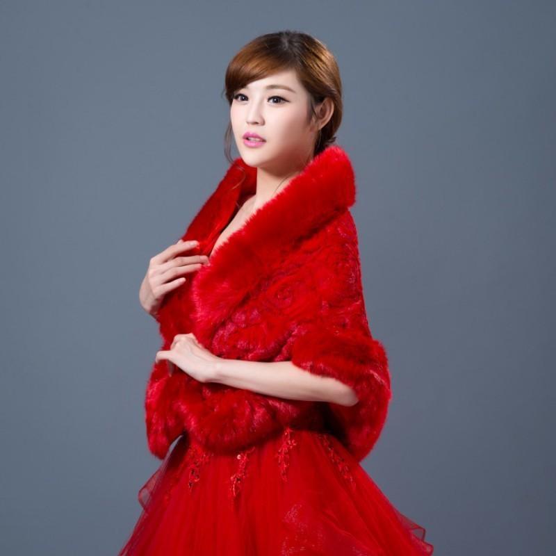 Inverno da sposa caldo Faux Fur Outwear cappotto di pelliccia Trim Rose avvolge Capo Rosso Bianco banchetto del partito signore vestito da sposa Cappa Mantello