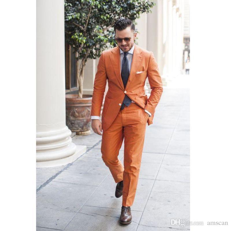 Männer Hochzeit Neuesten Mantel Hose Design Bräutigam Smoking Orange Best Man Anzug Groomsman Männer Hochzeit Anzüge Bräutigam (Jacke + Hose + Krawatte) ZQ