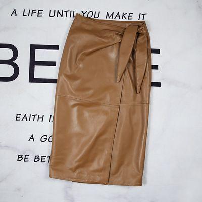 2020 Women Spring Genuine Real Sheep Leather Skirt E25
