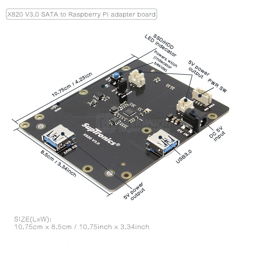 "Raspberry Pi 2.5"" SATA HDD/SSD Storage Expansion Board, X820 V3.0 USB 3.0 Mobile Hard Disk Module for Raspberry Pi 3 Model B+/3B"
