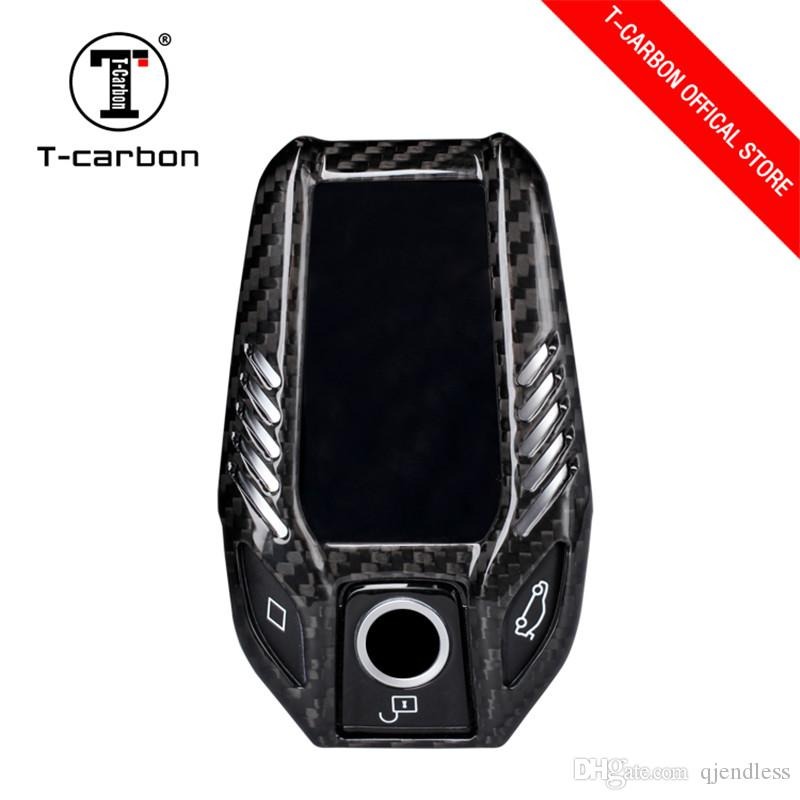 high-end Car Styling Pure Carbon Fiber Car Key Case Cover Shell bag For BMW 7 Series 730li 740li 750 530 6 Series GT X3 Car Accessories
