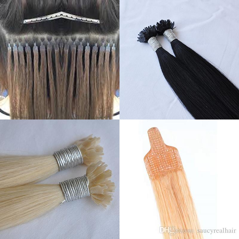 100% cabelo humano 1g / vertente 200g / lot ponta plana extensões de cabelo nano emaranhado livre derramamento brasileira ponta livre Plano Nano extensões do cabelo