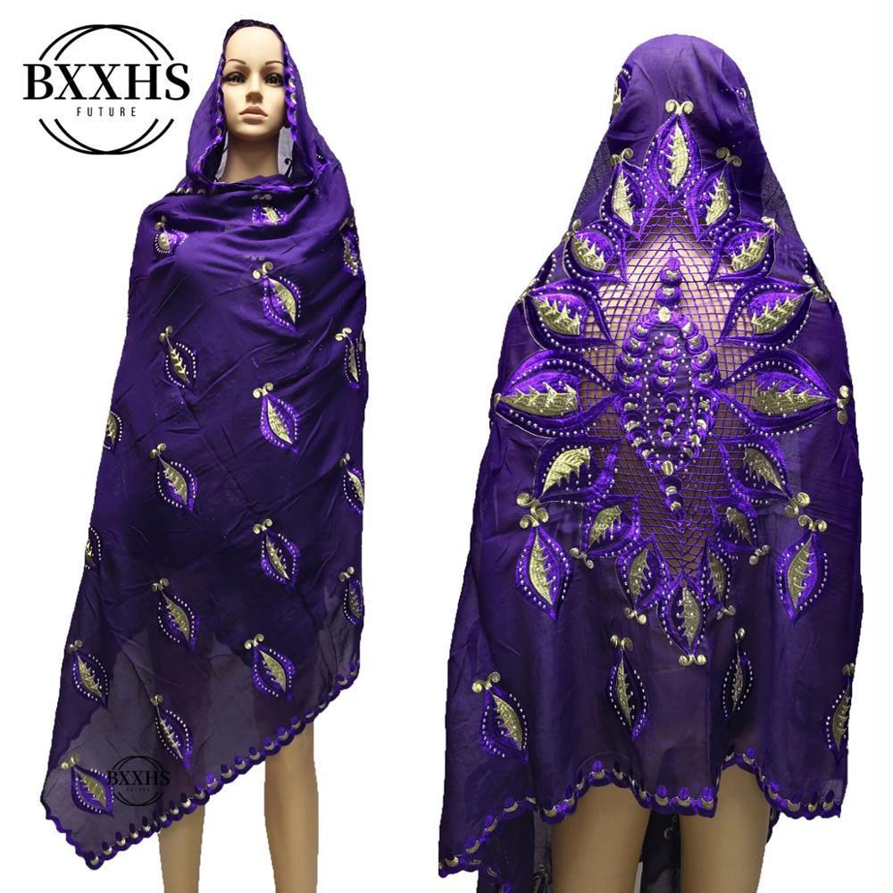 şallar Afrika kadın eşarp müslüman nakış pamuğun eşarp başörtüsü büyük beden