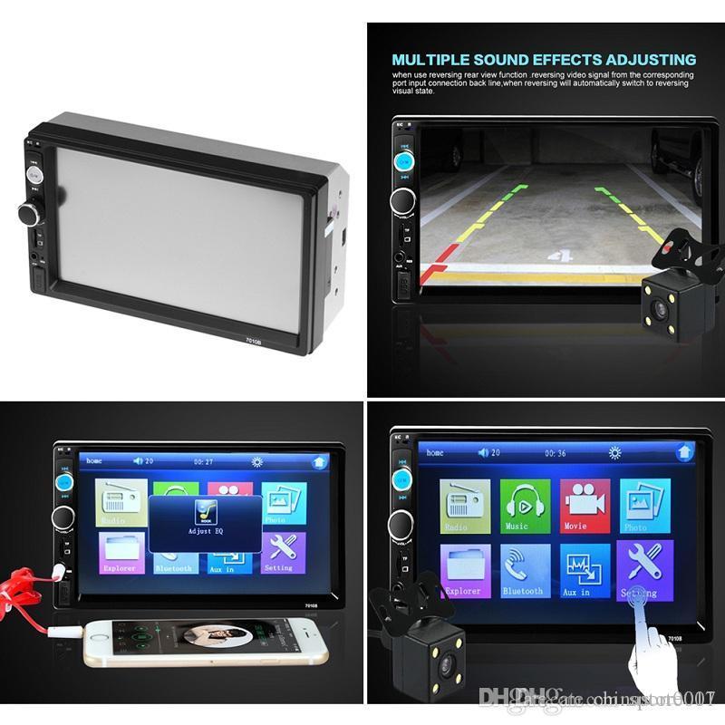 Bluetooth stéréo voiture MP5 Lecteur MP3 2 Din Car Radio Player 7 pouces HD à écran tactile de recul USB caméra arrière FM TF AUX