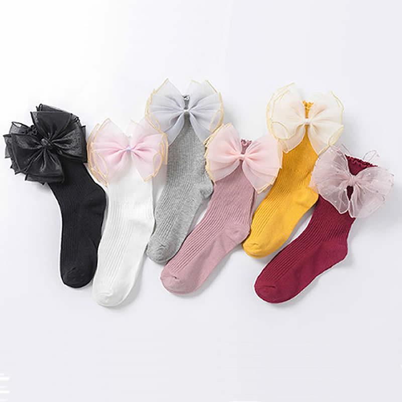 Prenses Bebek Çorap Pamuk Organze Kelebek Çocuk kız Çorap Yeni Kız ayak bileği çorap altında diz Penye 75 (%)