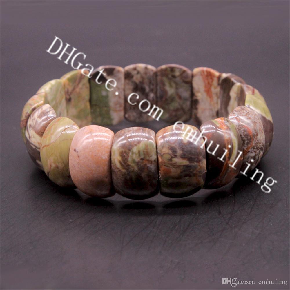 10Pcs Healing Stones Ocean Jasper Agate 15mm 20mm 25mm Natural Polished Nugget Beads Yoga Prayer Stretch Bracelet Chakra Balance Meditation