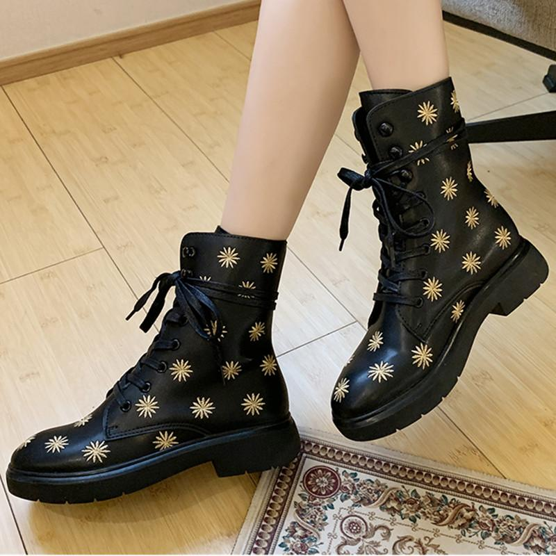 sells 100% genuine quality Winter Boots Women Platform Boots Black Flower Embroidery Leather ...