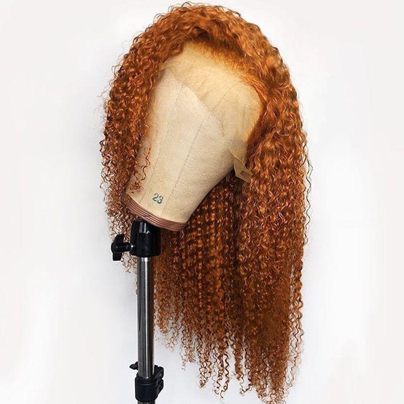 Parrucca pizzo PAFF colore arancione parte anteriore del pizzo Ricci Lunghi completa reale umani per le donne Ginger Remy brasiliano Pre a pizzico
