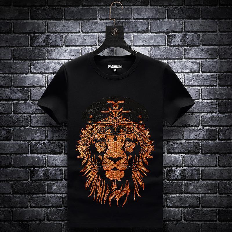 INS dernier animaux Chemises en cristal d'or T-shirt de la mode Hip Hop shirt hommes Casual Street Shirt Homme XL T-shirt