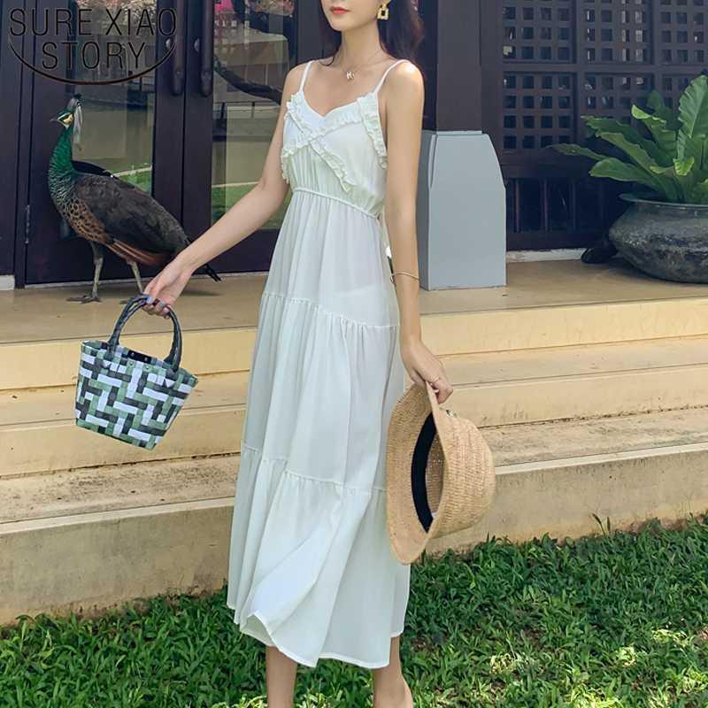Vestidos 2020 neue trägerlose Strand-Kleid-Dame Bohemian langer Sommer-Kleid-Frauen mit hohen Taille V-Ausschnitt festes Kleid für Frauen 8633 50