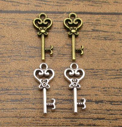 Charms clés gros 50PCS / Lot 21 * 9 mm Little Key Pendentifs Charm Bracelet 2 couleurs disponibles-WY1260