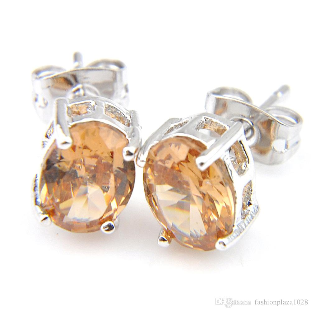 Luckyshine Gem Stone 4-Prong Oval Champagn Morganite Gemstone 925 Silver Plated For Women Men Stud Earrings Free Shipping