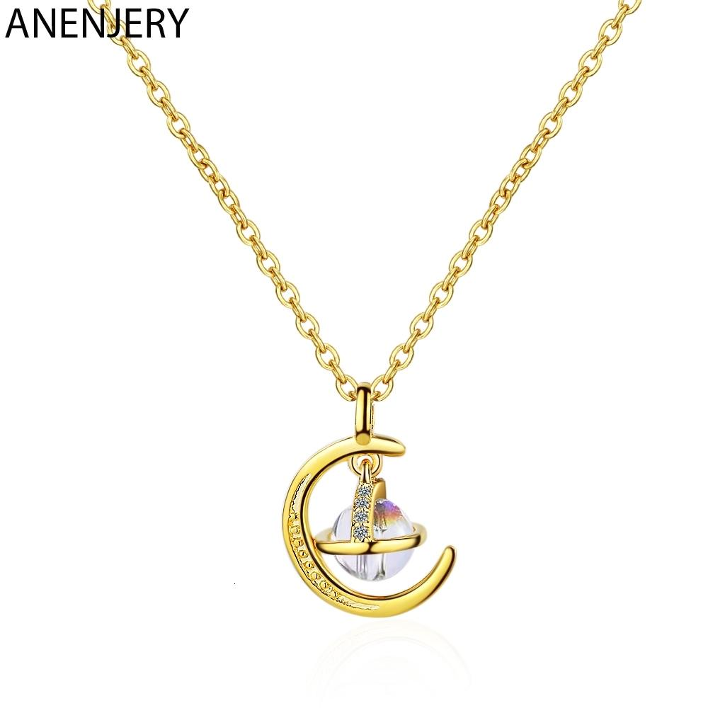 Round univers fantastique Planète Pendentif Collier Argent 925 Or Lune Collier Bijoux Cadeaux Femmes