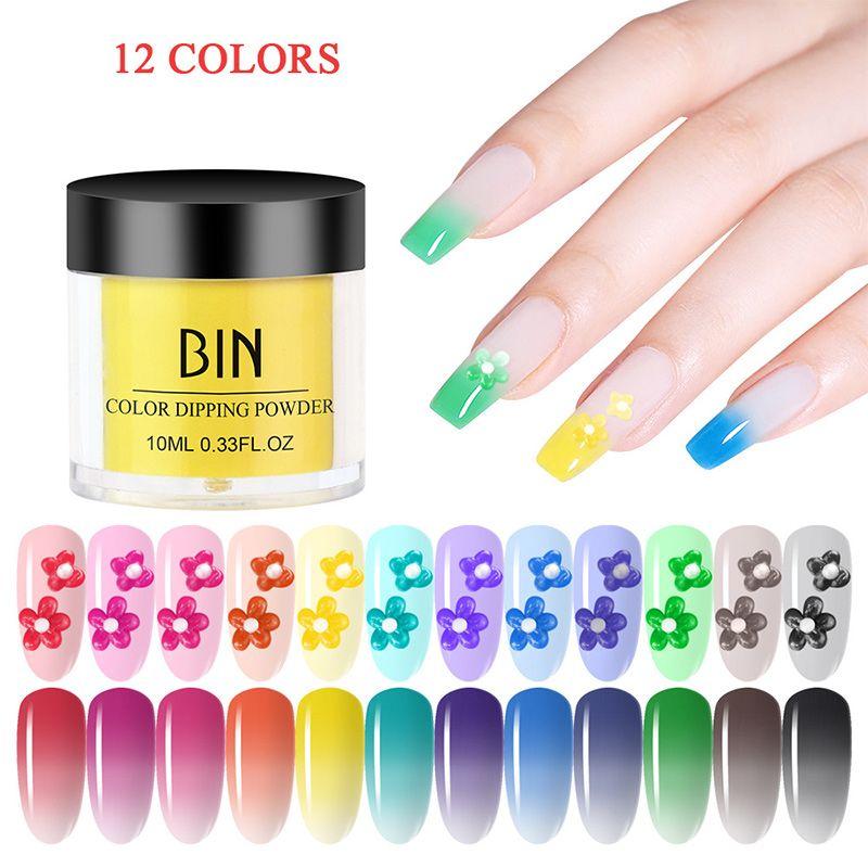 polvere di chiodo di colore al neon perla pigmento capacità di riparazione di polvere lampo temperatura chiodo cambiamento infiltrazione estensione polvere # 12