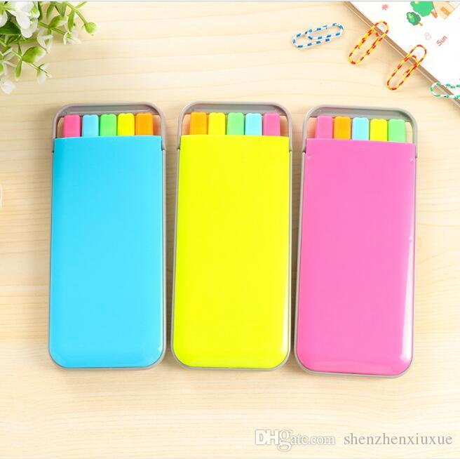 candy color highlighter pen set mini fluo markers pens korean stationery school supplies 5 colors/box