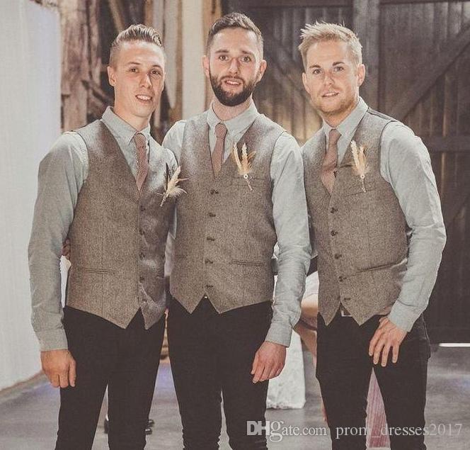 Terno 2020 lã de alta qualidade Grey Tweed Coletes para casamento Custom Made Plus Size Formal do noivo Vest Slim Fit Colete For Men