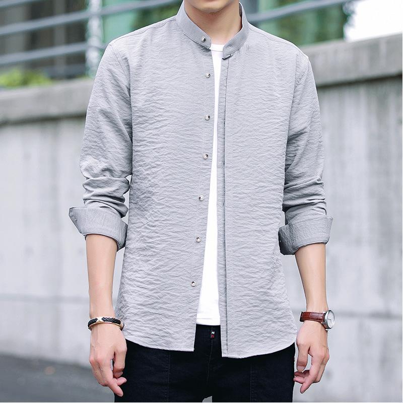 Men's Casual Shirt Loose Fashion Button Down Shirt Long Sleeve Formal Dress Shirts Mandarin Collar Male Clothing Camisa TS-445