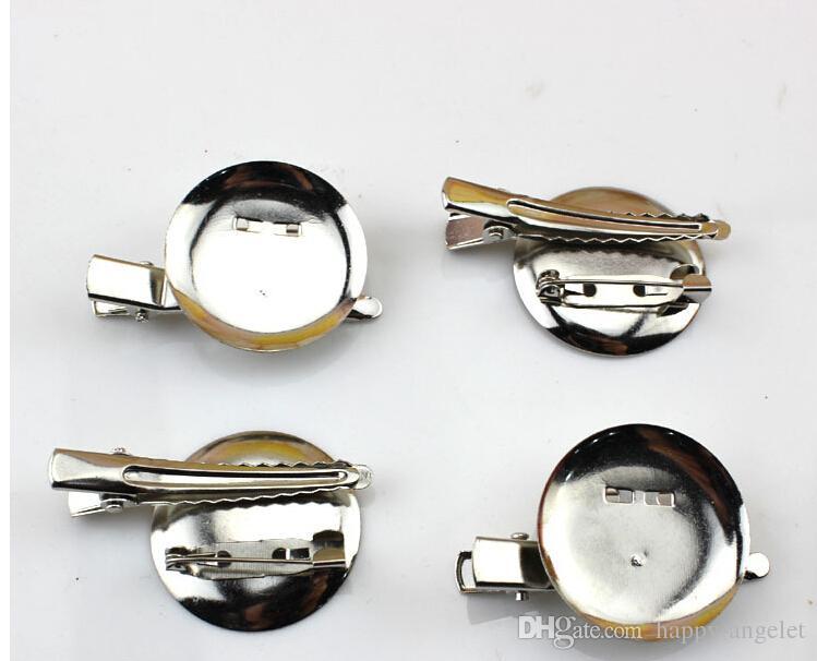 Capelli del coccodrillo accessori della clip spilla in metallo doppio disco combinazione Singolo Prong denti clip per capelli fai da te arco fiore abbigliamento 100pcs FJ3219