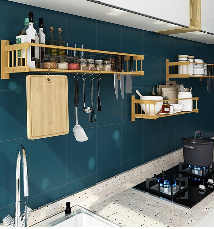 2019 Kitchen Wall Racks Free Punching Solid Wood Storage Rack Bathroom  Shelf Organizer Spice Rack Kitchen Wooden Shelf 4 Size From Jiguan, $27.82  | ...