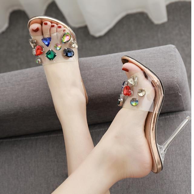 Sıcak Satış-Şeffaf Topuk Katır Temizle Sandalet Gümüş Düğün Ayakkabı Kutusu Boyutu 35 40 için birlikte gel
