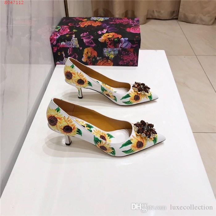 Womens modelli all'inizio della moda primavera Splendidi girasole stampati in pelle tacchi alti sandali sandali di cuoio di cristallo, Imballaggio di corrispondenza