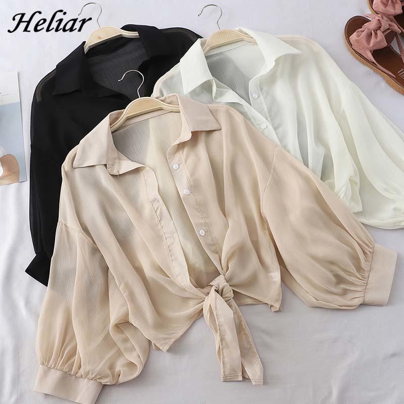 HELIAR Fener Kollu Şifon Gömlek Kadınlar 2020 Yaz Düğmeli Yukarı Gömlek Uzun Kollu Bluz Bağlı Bel Zarif Kadın Bluzlar Y200402