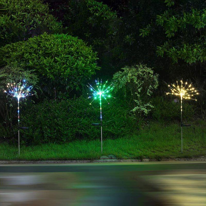 BRELONG sekiz fonksiyon güneş havai fişek Noel 90 bahçe avlu tatil dekorasyon 1 adet LED ışıkları çim lambaları