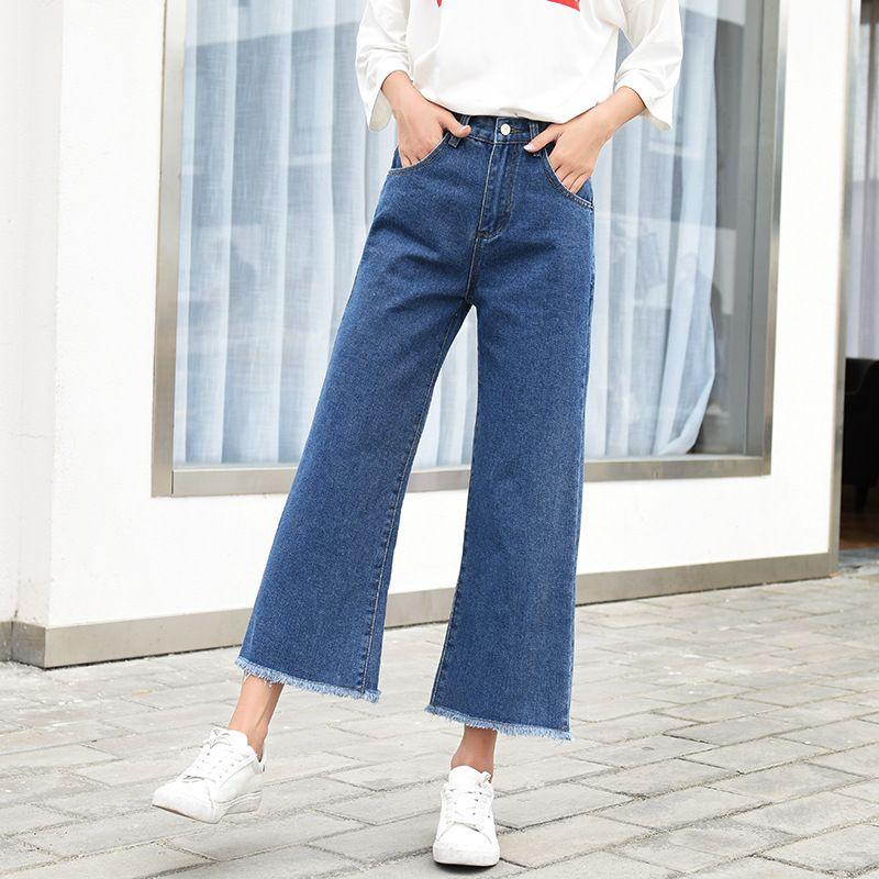 Nonis Женщины 2019 Осень New Wide Leg Свободные джинсы Женщины Упругие высокой талией голеностопного Длина Нет Stretch Джинсовые брюки Плюс Размер брюк