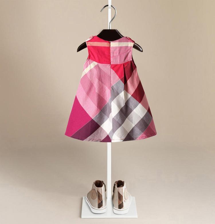 Девушка Нового прибытия лето девушка одежда без рукавов платья Горячей продажи 5 цветов хлопка высокого качества младенца малышей большого клетчатых платья