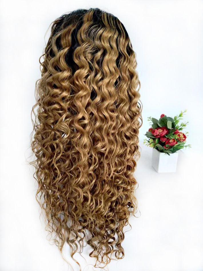 Ombre Perucas Raw indiana Curly Mel loira Glueless peruca cheia do laço colorido 1B 27 onda profunda trançado rendas frente perucas Mulheres Preto Para